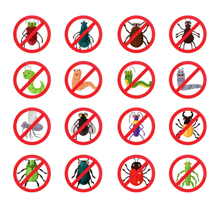 exterminate: Stop insects. Vector flat icon set