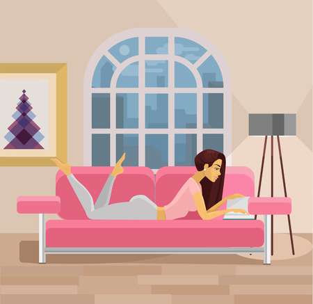 couches: Vector living room with girl. Flat illustration