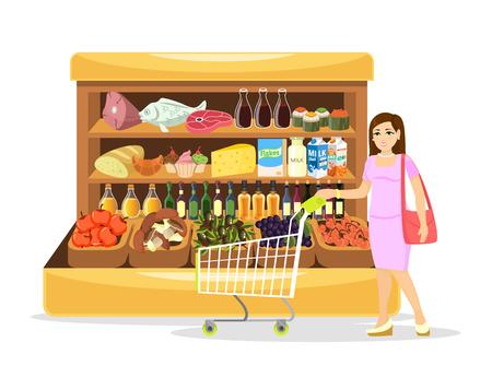 mujer en el supermercado: Vector supermercado plana de dibujos animados Vectores