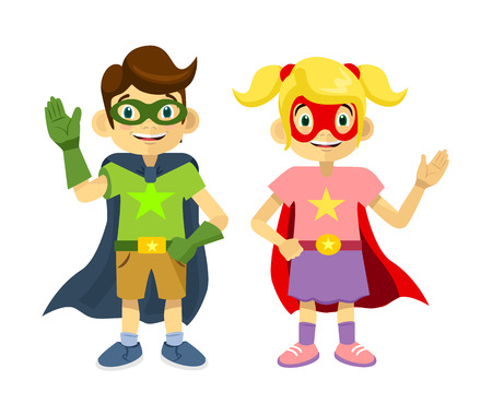 Children superheroes. Vector flat illustration Reklamní fotografie - 41938830