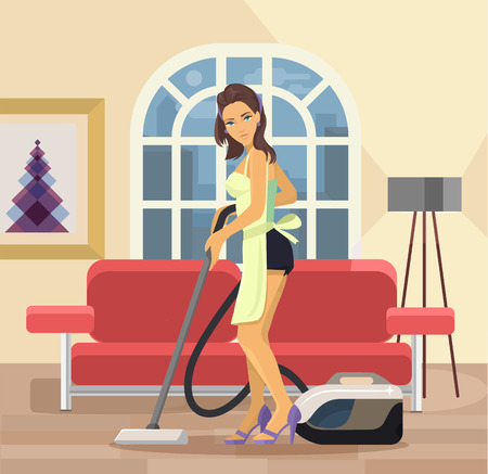 Vector housewife flat cartoon illustration