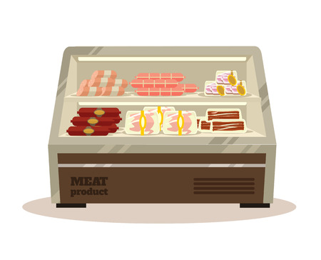 packed: Meat counter. Vector flat illustration Illustration