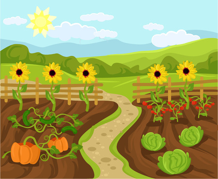 farmlands: Vector garden flat cartoon illustration