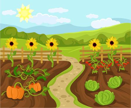 l�gumes verts: Vector illustration jardin plat de bande dessin�e