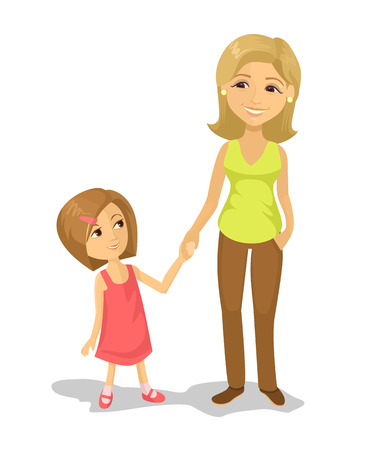 Mom and daughter. Vector flat illustration Illustration
