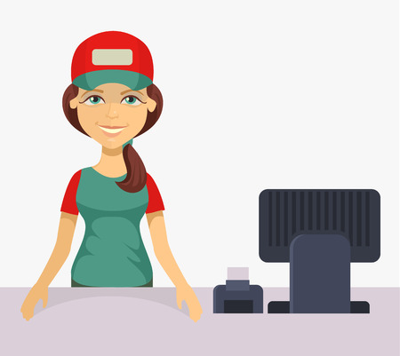 Vector cashier. Flat cartoon illustration Stock Illustratie