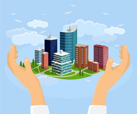 city street: City in handss. Vector flat illustration
