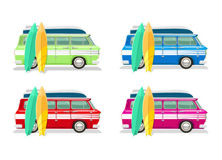 cartoon surfing: Vector travel bus flat cartoon set