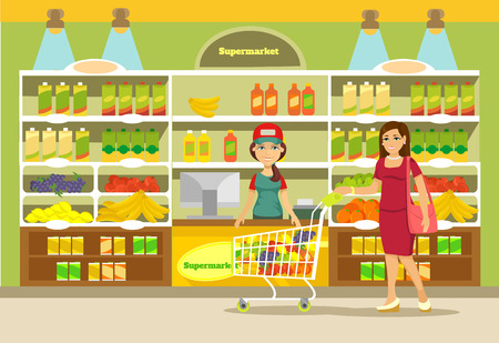 ama de casa: Vector supermercado ilustraci�n plana Vectores