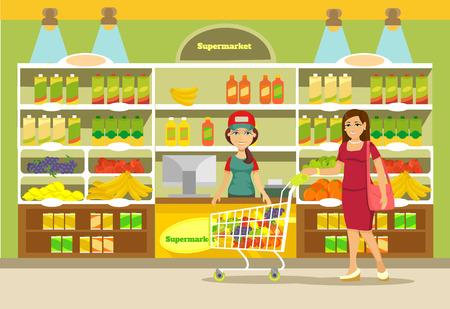 casalinga: Vector supermercato illustrazione piatta Vettoriali