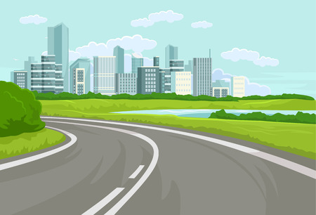 road line: Landscape. Vector flat illustration