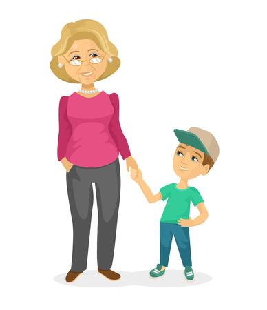 Oma en kleinzoon. Vector flat illustratie