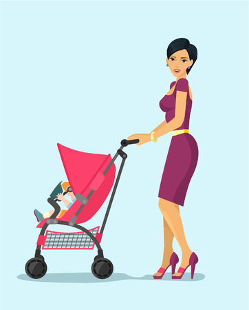 young woman: Woman with child. Vector flat illustration