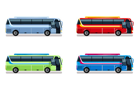 passenger compartment: Travel bus vector flat illustration Illustration