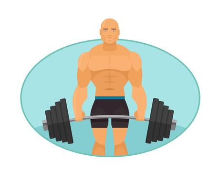 sexy muscular man: Vector bodybuilder flat illustration