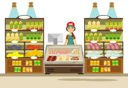 Vector supermarket flat illustration