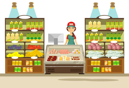 grocery shelves: Vector supermarket flat illustration