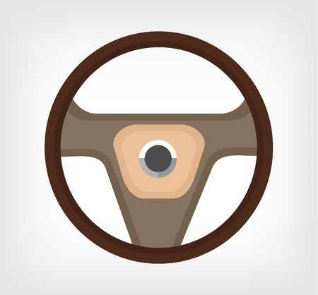 car accessory: Steering wheel. Vector flat illustration