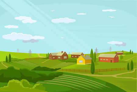 mountain valley: Vector village flat illustration