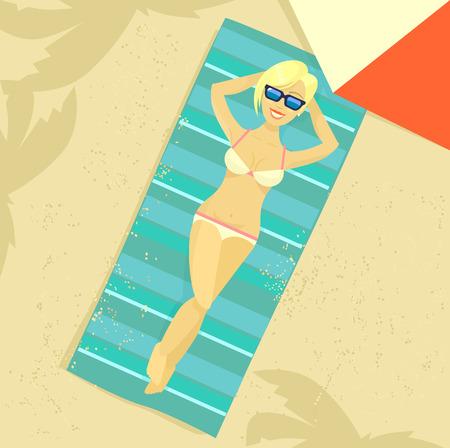 sunbathing: Man sunbathing. Vector flat illustration