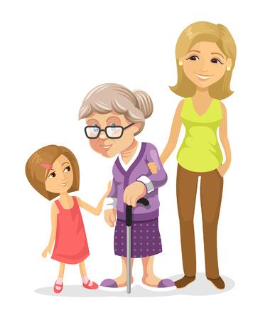 vecchiaia: Vector famiglia illustrazione piatta Vettoriali