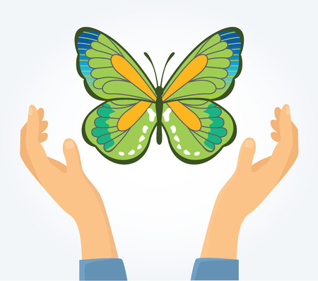 Butterfly in hands. Vector flat illustration