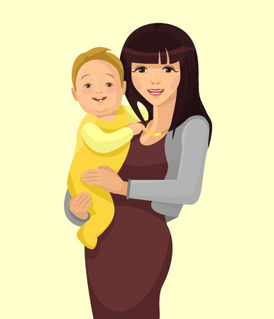mum and child: Young woman mother with baby. Vector flat illustration