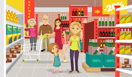 mall interior: Vector supermarket flat illustration