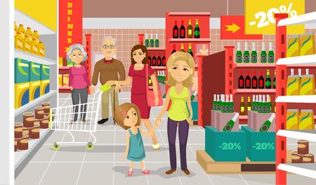 carro supermercado: Vector supermercado ilustración plana Vectores