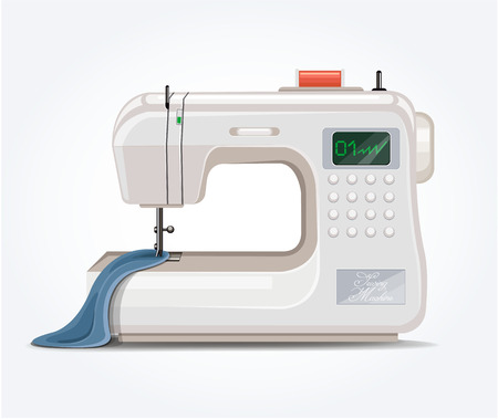 sewing materials: Sewing machine. Vector flat illustration; Illustration