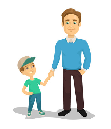 Vector father and son flat cartoon illustration