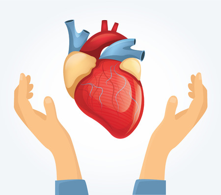 hope sign: Vector heart in hands. Flat illustration