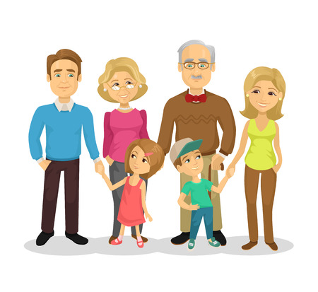 young adult: Vector full family flat cartoon illustration