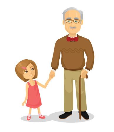 祖父と孫。ベクトル フラット漫画イラスト