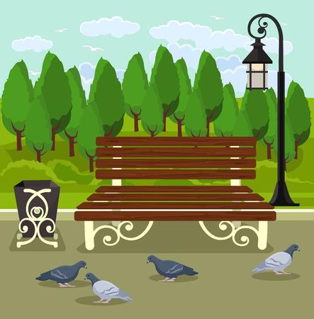 central park: Vector parque ilustraci�n plana
