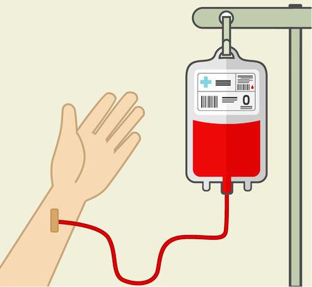 bag: Blood transfusion. Vector flat illustration Illustration