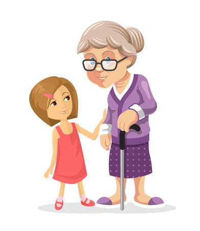 vejez feliz: Abuela y nieta. Vector ilustración plana