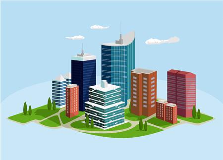 megalopolis: Vector megalopolis flat illustration