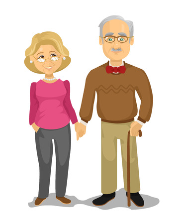 vejez feliz: El abuelo y la abuela. Vector ilustración de dibujos animados plana Vectores