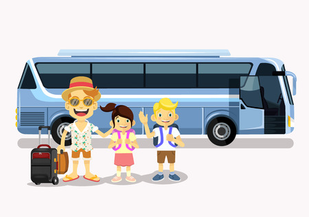 tourist: Family holiday. Vector flat cartoon illustration