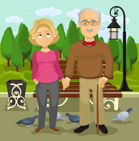Grandparents in park. Vector flat illustration Illustration