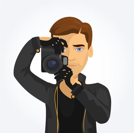 take action: Photographer vector flat illustration