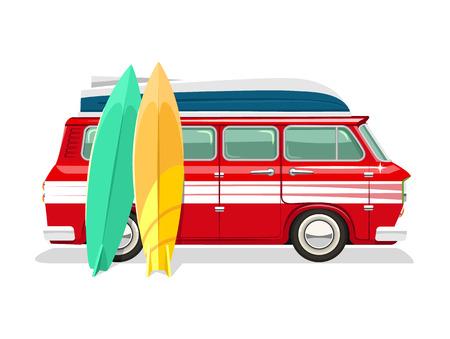 surf board: Vector travel bus flat cartoon illustration Illustration