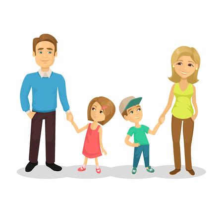 Vector family flat cartoon illustration Vectores