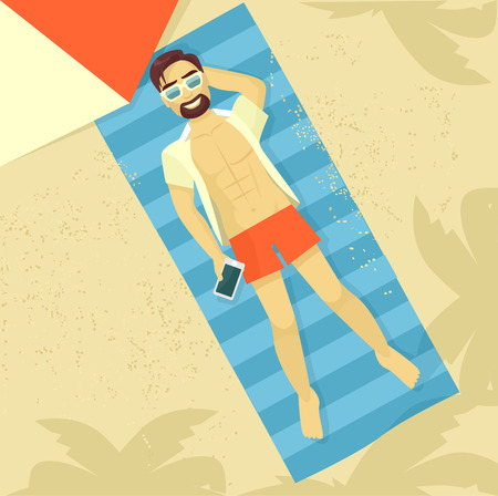 cartoon burn: Man sunbathing. Vector flat illustration