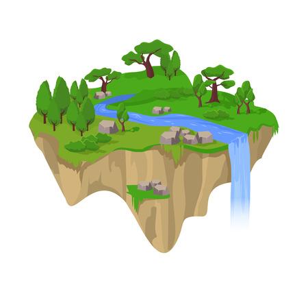 country life: Green Island. Vector flat illustration
