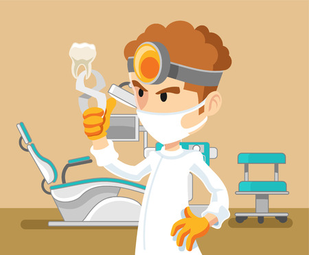 dentist cartoon: Vector dentist flat cartoon illustration