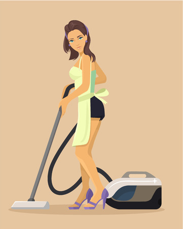 vector girl: Vector housewife flat cartoon illustration