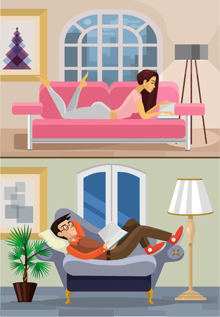 modern living room: Vector living room with boy and girl. Flat illustration;
