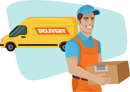 delivery box: Delivery service. Vector flat cartoon illustration Illustration